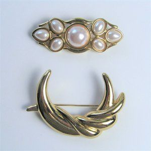 Two Beautiful Golden Monet Brooches Crescent Pearl